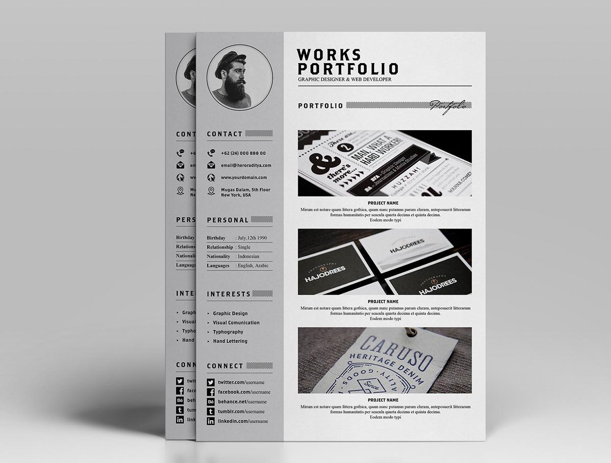 Free Resume (CV) Design Template With Cover Letter & Portfolio In PSD & Ai (4)