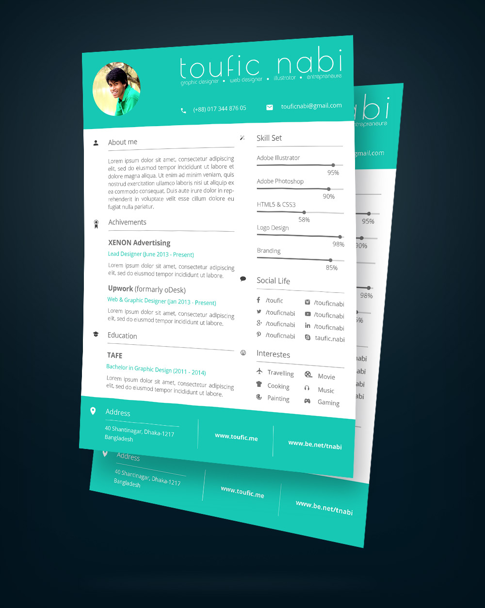 Free Resume Design Template & Cover Letter For Designers PSD File (2)