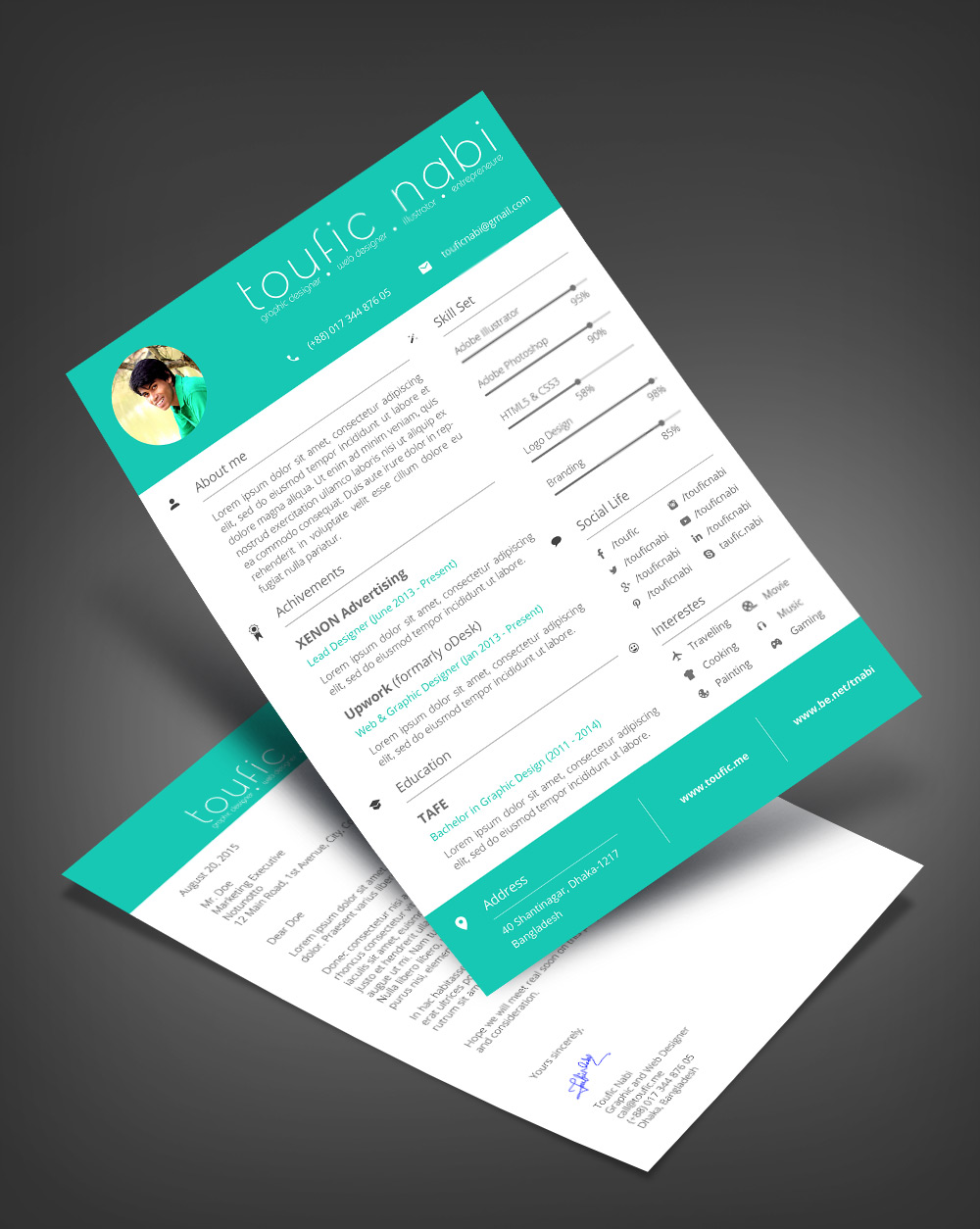 Free Resume Design Template & Cover Letter For Designers PSD File (3)