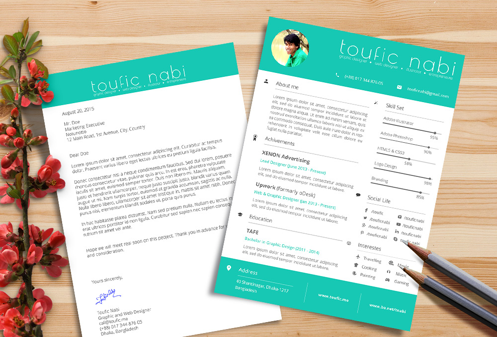 Free Resume Design Template & Cover Letter For Designers PSD File (4)