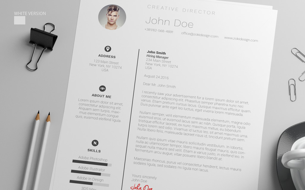 free resume design template with cover letter in psd