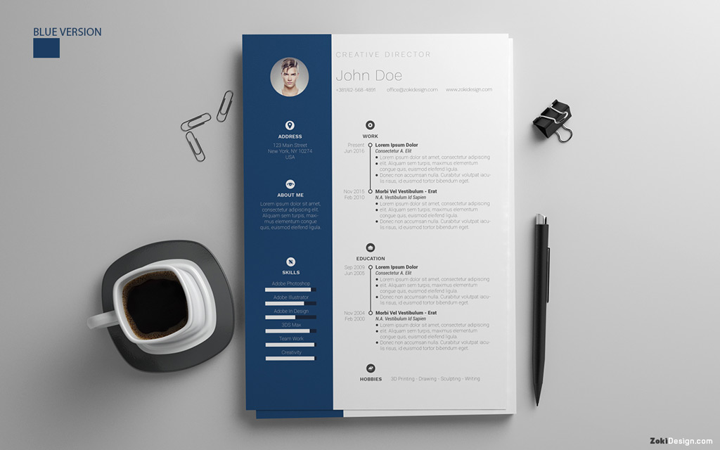 free resume design template with cover letter in psd  ai  u0026 doc