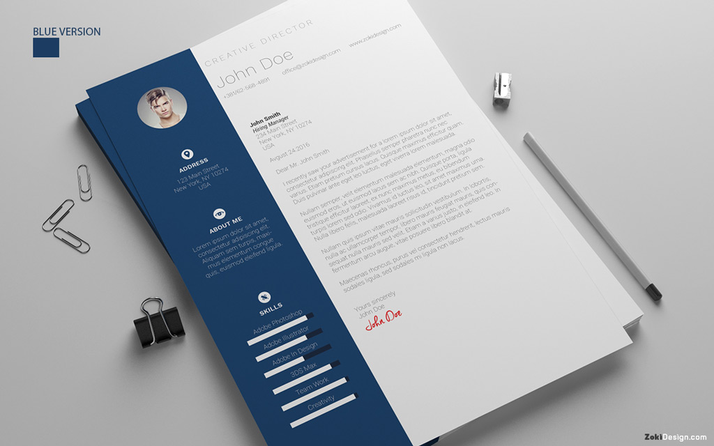 free blue cover letter design template psd ai doc free resume - Free Resume And Cover Letter Templates