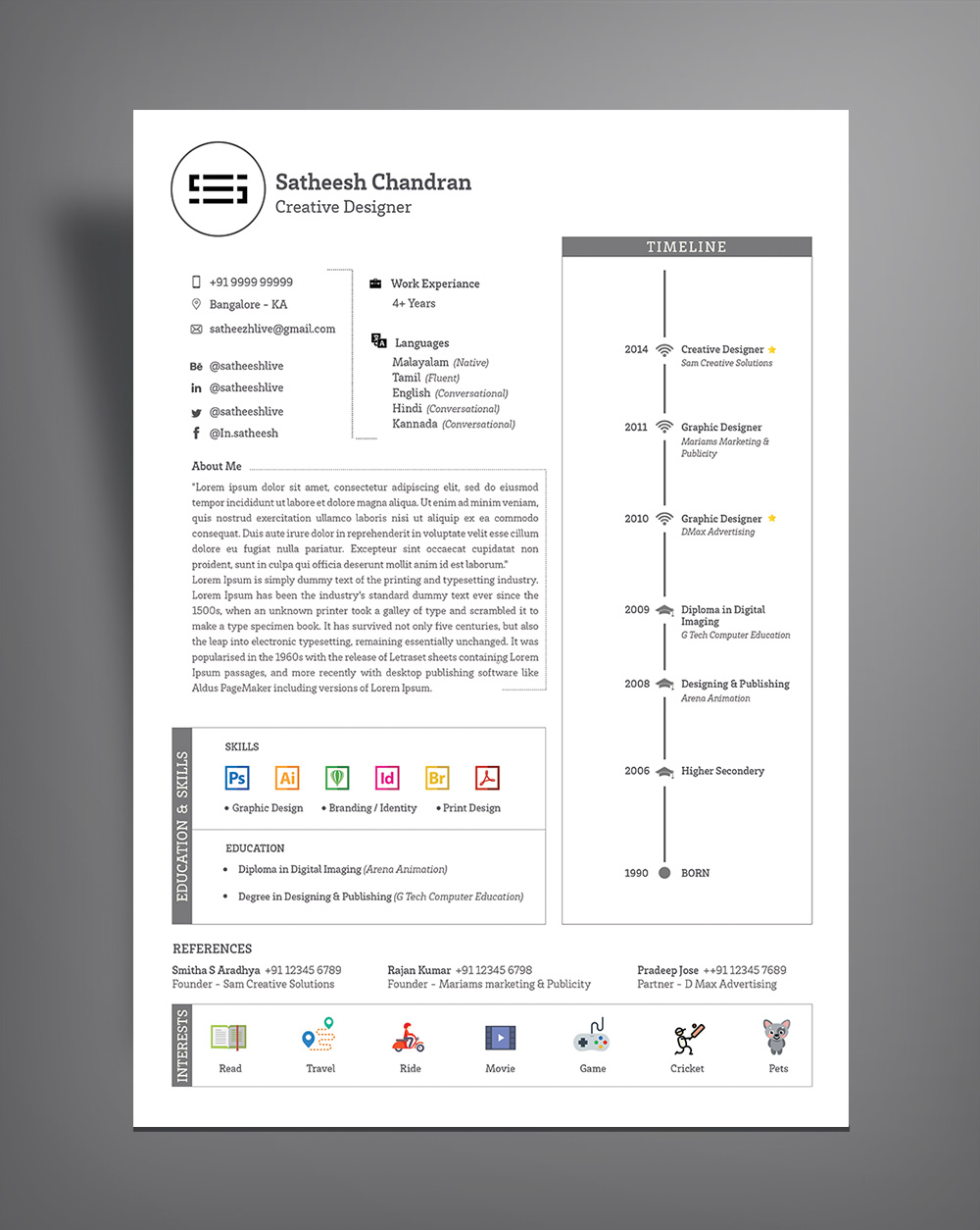 Free Simple Professional Resume (CV) Template Design Ai file (2)