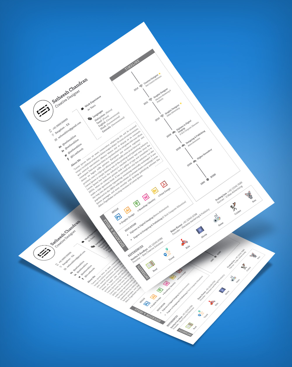 Free Simple Professional Resume (CV) Template Design Ai file (4)