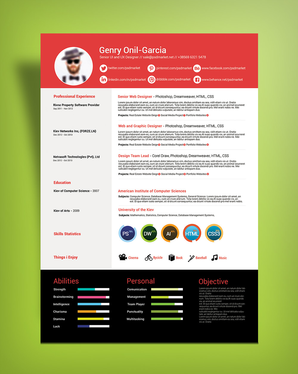 Free Simple Resume Design Template For UI & UX Desingers-Good Resume For Good Job (1)