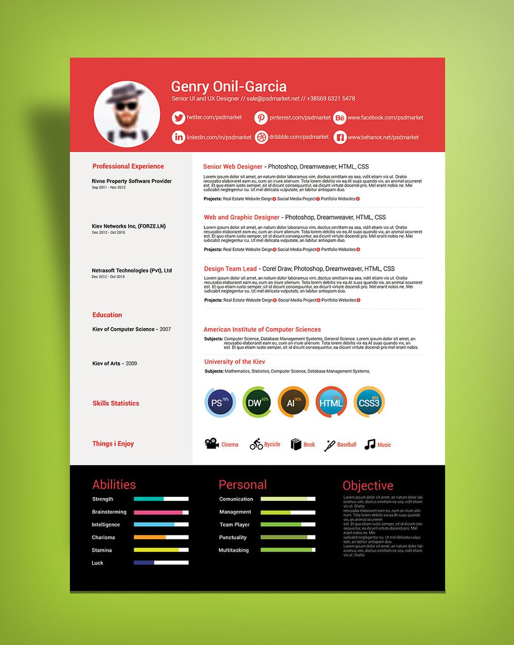 Free Simple Resume Design Template For UI & UX Desingers-Good Resume For Good Job (1)