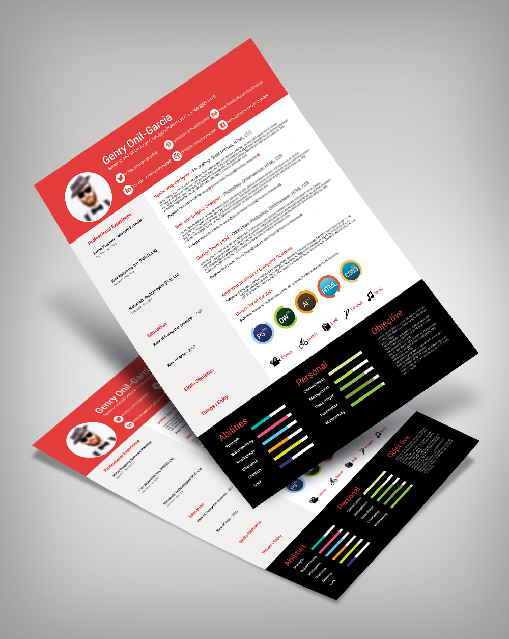 Free Simple Resume Design Template For UI & UX Desingers-Good Resume For Good Job (2)