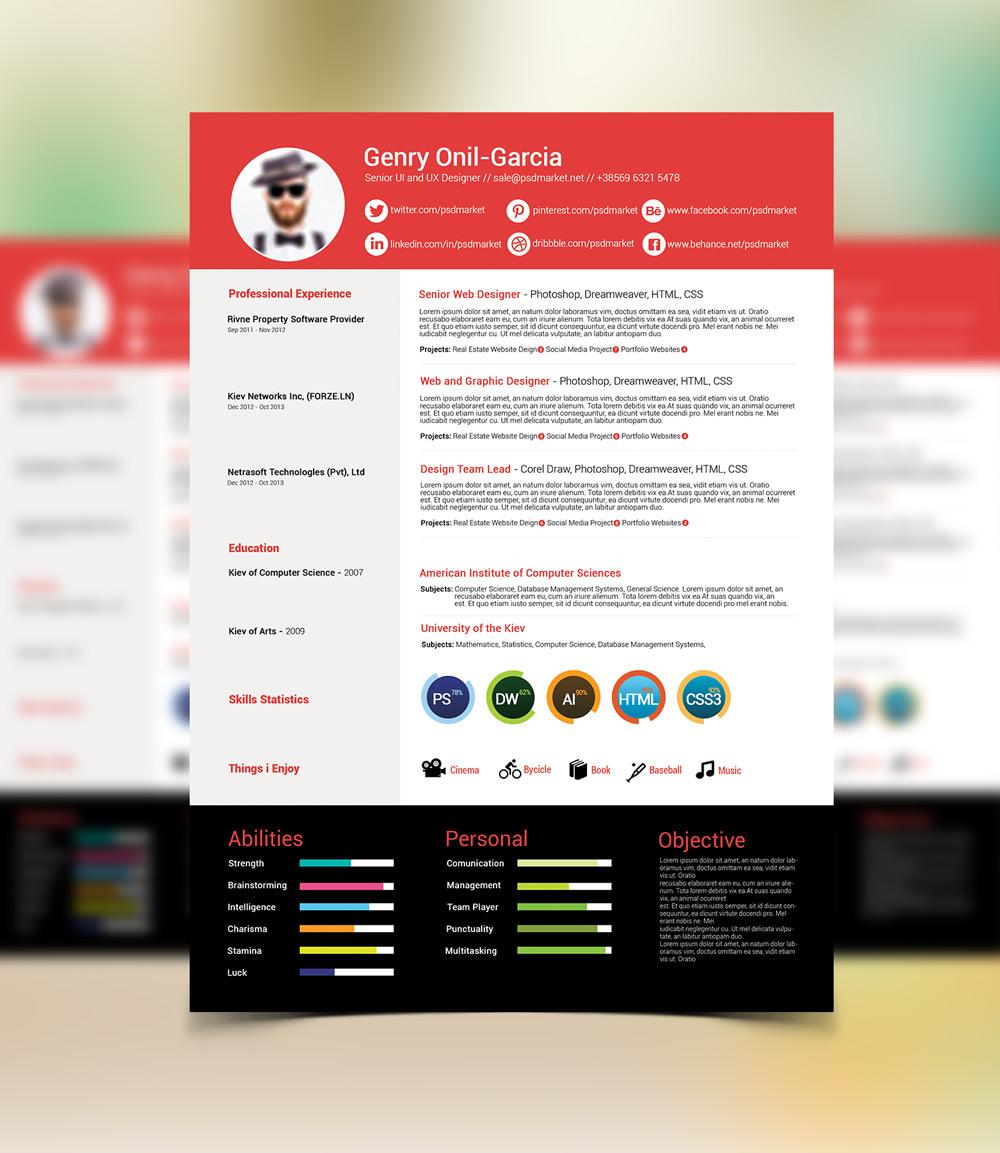 Free Simple Resume Design Template For UI & UX Desingers-Good Resume For Good Job (3)