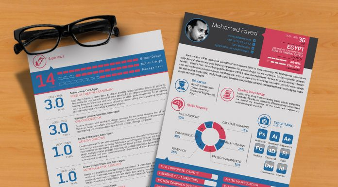Free Stylish Resume (CV) Design Template Ai File (1)