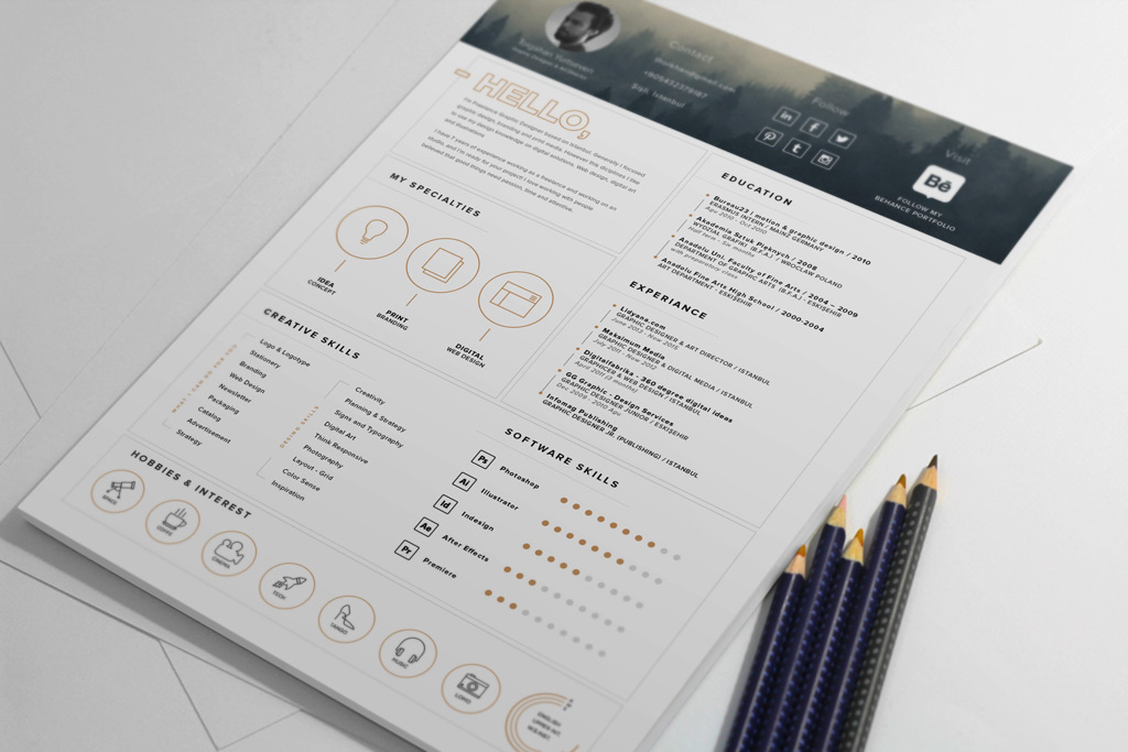 Free Stylish Resume Template And Resume Icons Ai File 3 - Awesome free resume template with icons