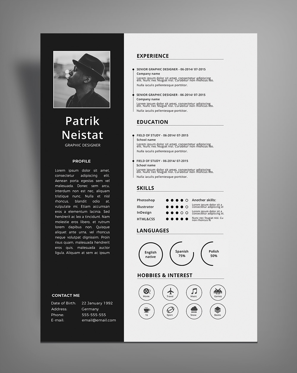 Simple Resume (CV) Design Template Free PSD File (1)