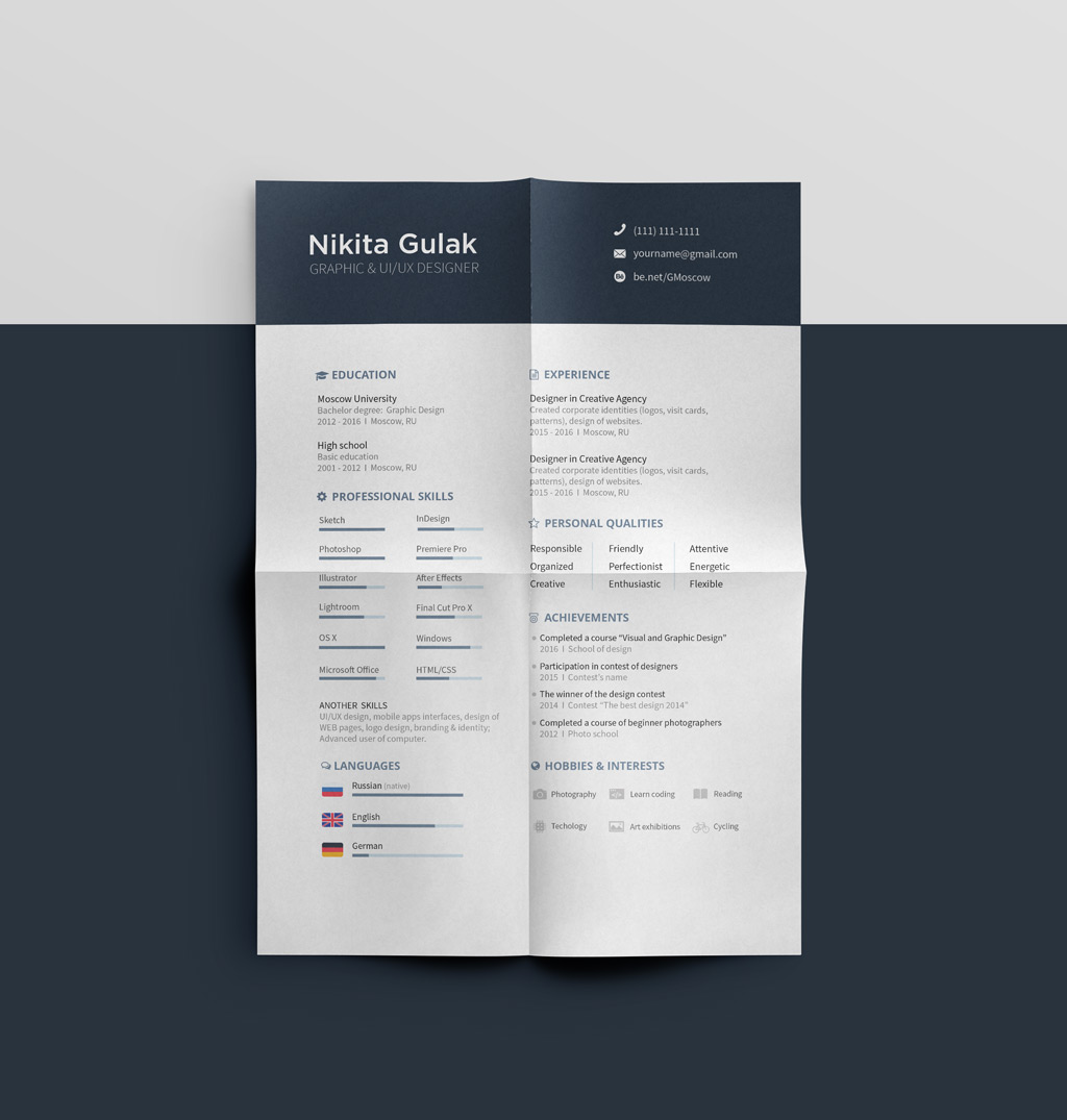 simple resume cv template design for graphic designer ai