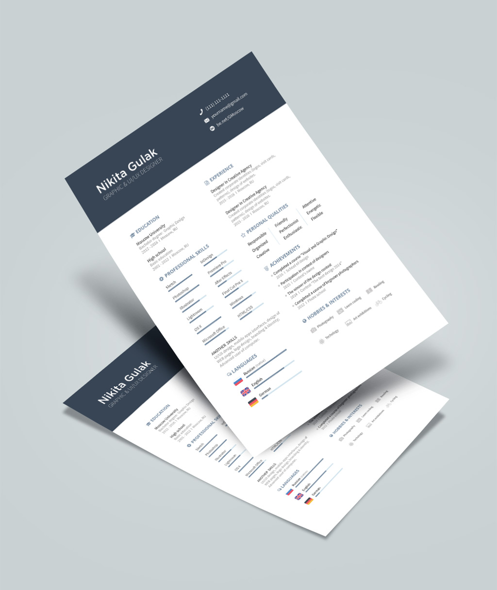 Simple Resume (CV) Template Design For Designers Ai File (4)