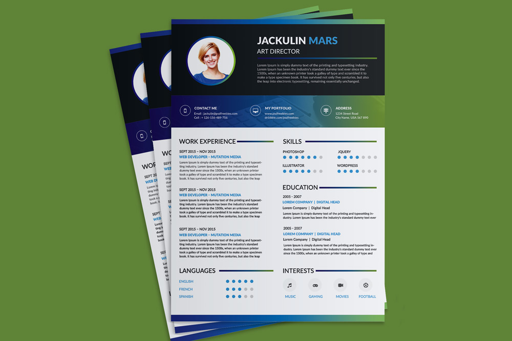 Beautiful resume cv design template free psd file good Blueprint designer free