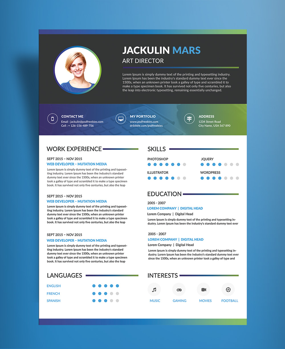 Beautiful Resume (CV) Design Template Free PSD File (2)
