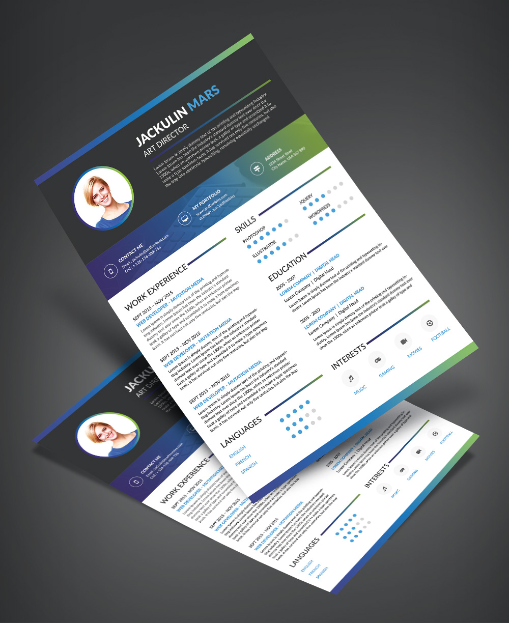 Beautiful Resume (CV) Design Template Free PSD File (3)