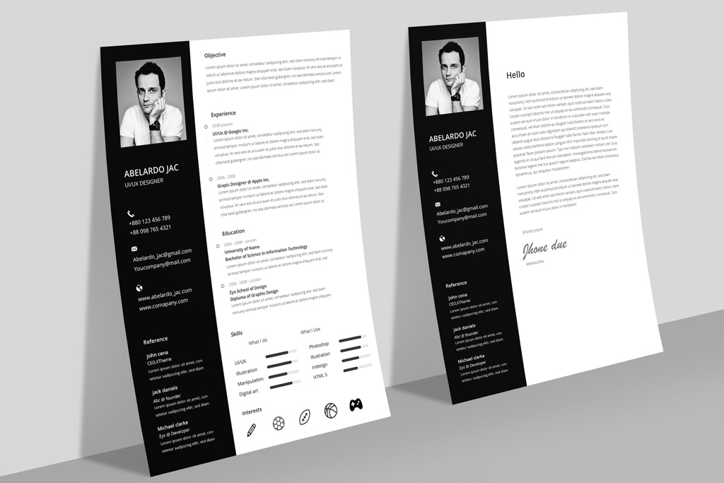Classy Bkack & White Resume (CV) Template With Cover Letter Free PSD File (1)