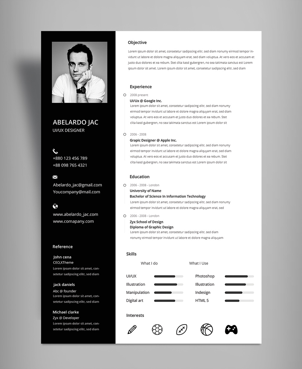 Classy Black Amp White Resume Cv Template With Cover