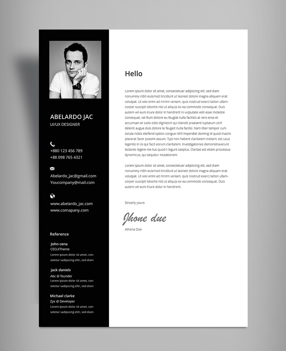 classy black  u0026 white resume  cv  template with cover letter free psd file