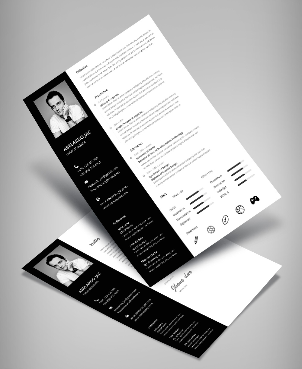 Classy Bkack & White Resume (CV) Template With Cover Letter Free PSD File (4)