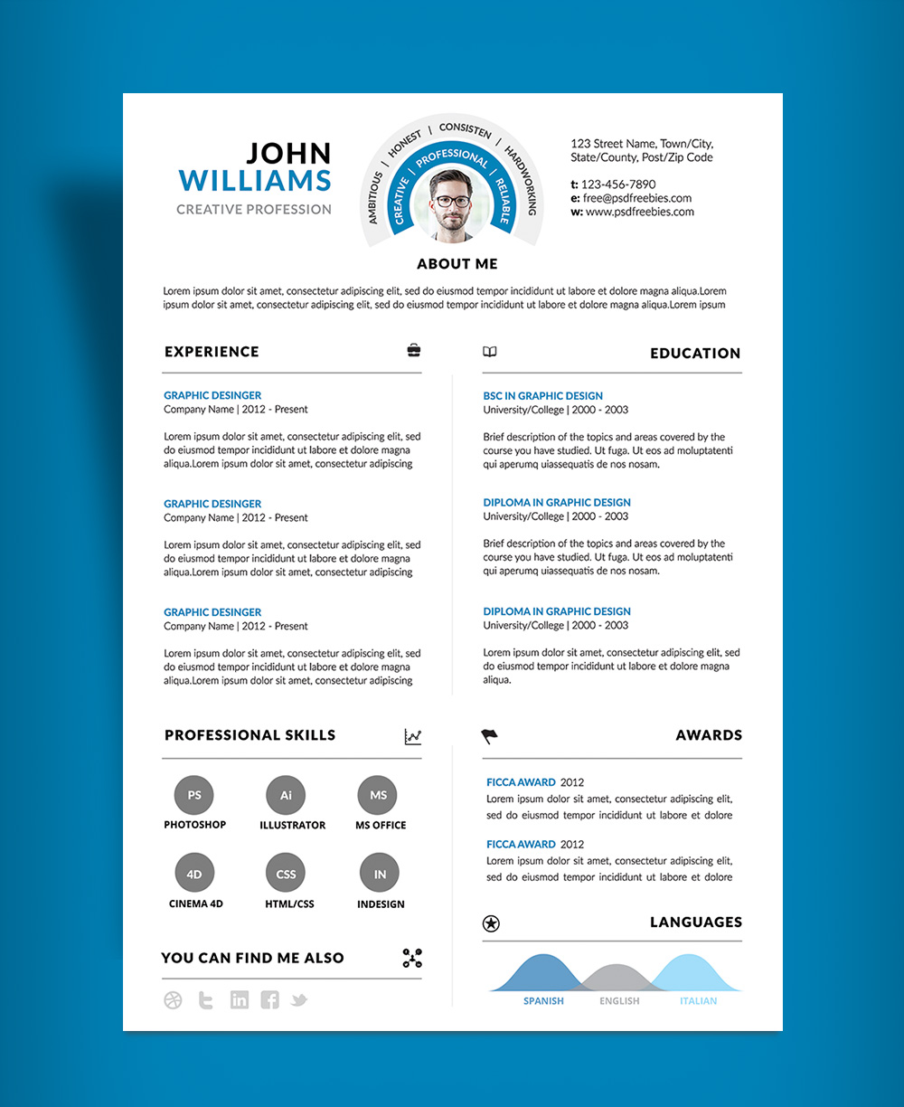 Clean and Professional Resume (CV) Design Template PSD File (2)