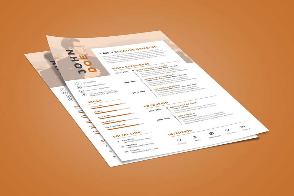 Creative Executive Resume (CV) Design Template PSD File (2)