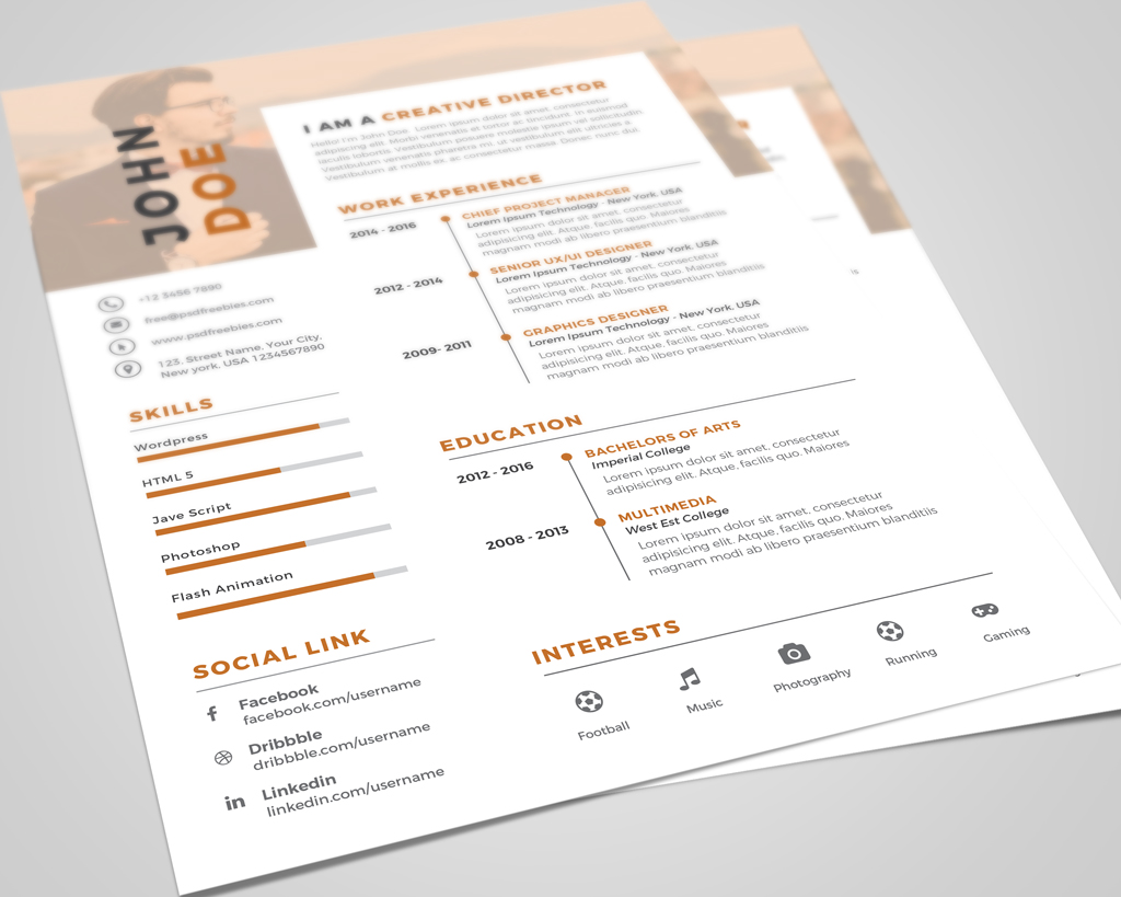 Creative Executive Resume (CV) Design Template PSD File (3)