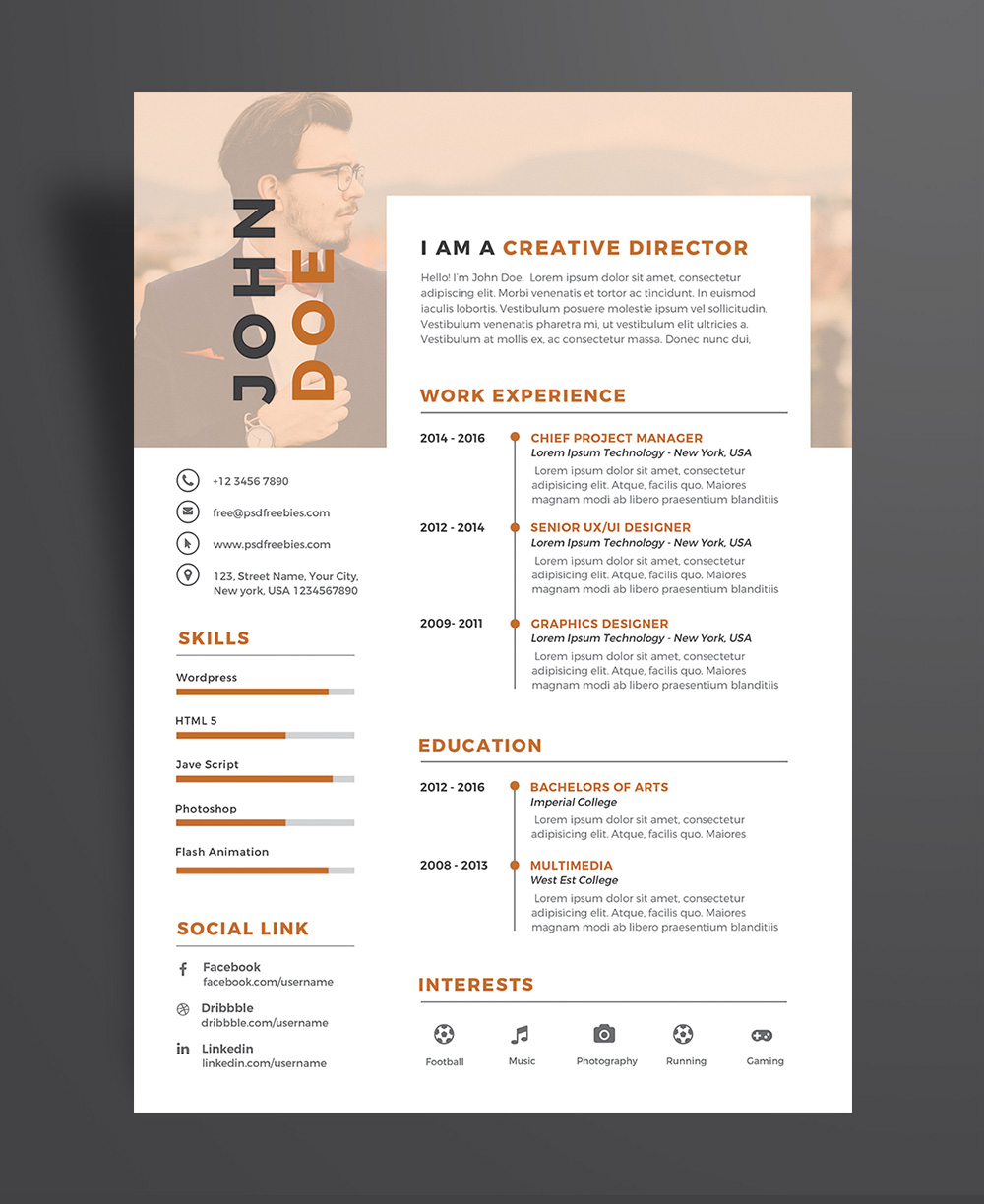 Creative Executive Resume (CV) Design Template PSD File (4)
