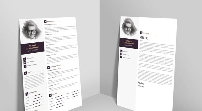 Creative Professional Resume (CV) Design Template With Cover Letter PSD File (1)