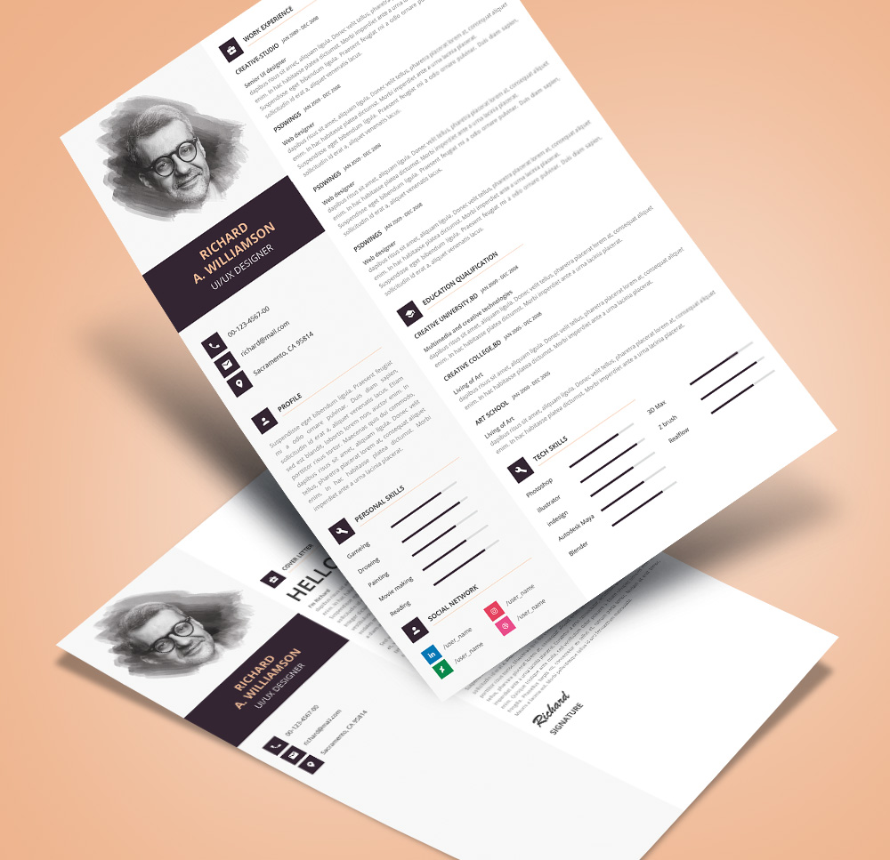 Creative Professional Resume (CV) Design Template With Cover Letter PSD File (2)