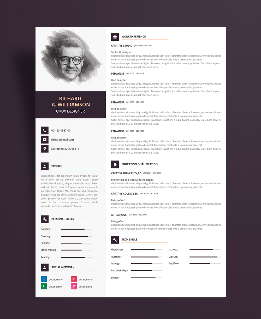 Creative Professional Resume (CV) Design Template With Cover Letter PSD File (3)