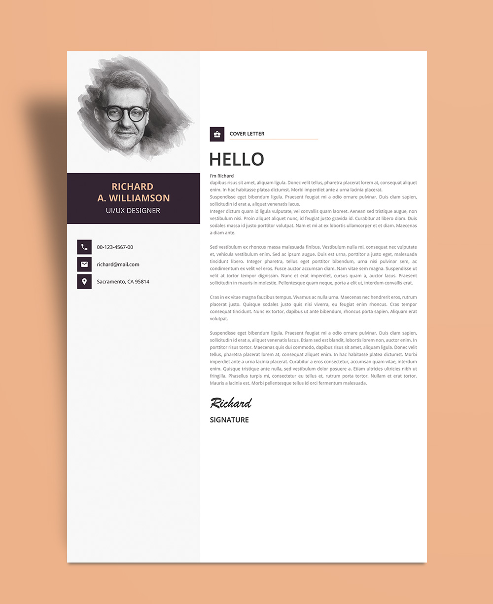 Creative Professional Resume (CV) Design Template With Cover Letter PSD File (4)