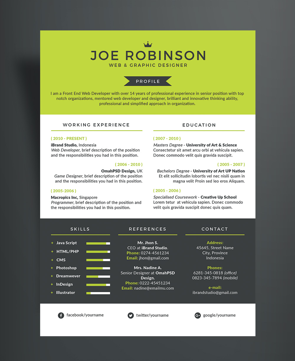 Elegant & Professional Resume (CV) Design Template in 3 Different Colors PSD File (2)