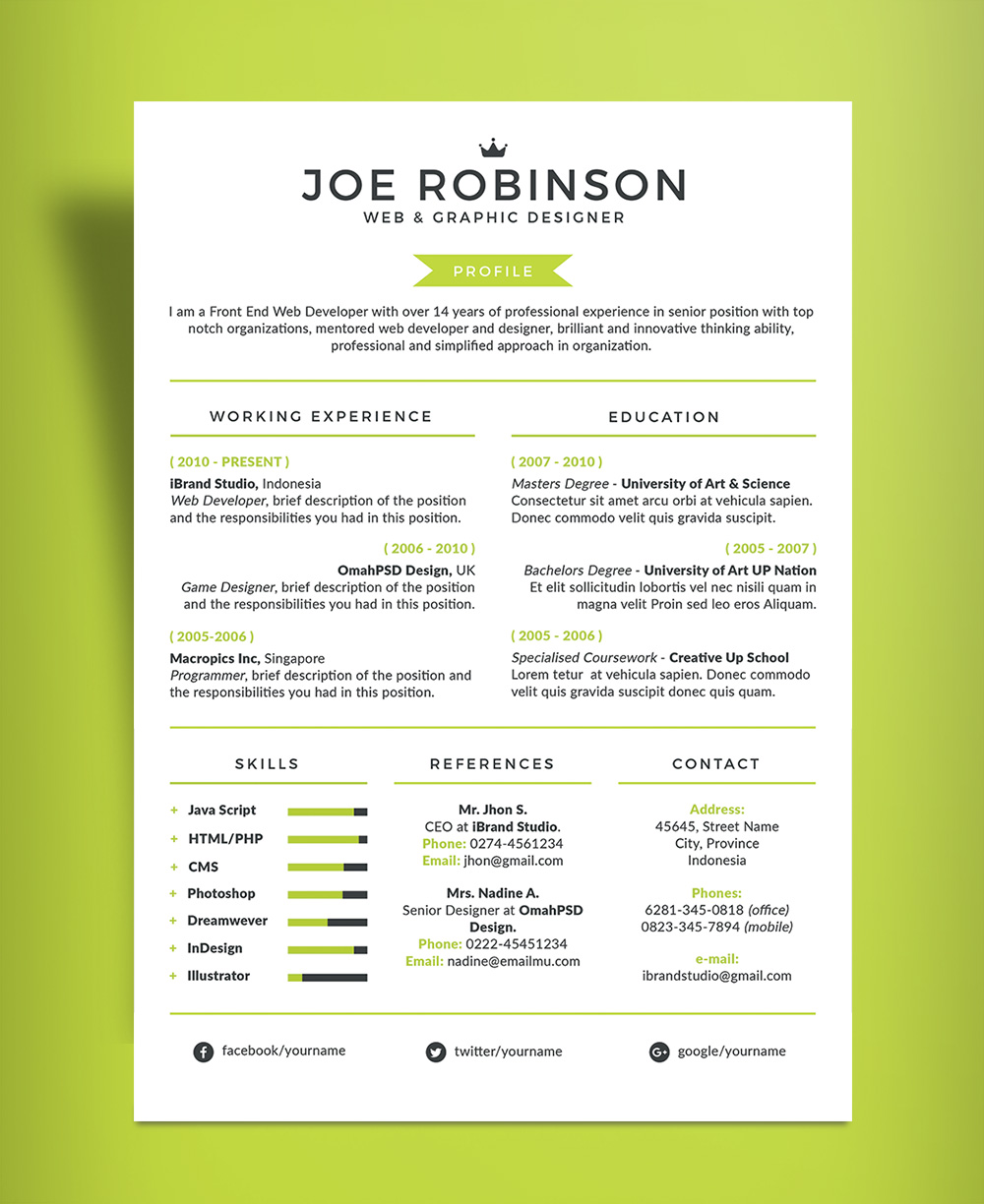 Elegant & Professional Resume (CV) Design Template in 3 Different Colors PSD File (3)