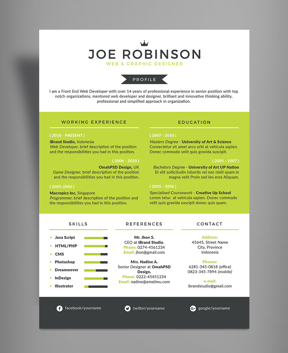 Elegant & Professional Resume (CV) Design Template in 3 Different Colors PSD File (4)