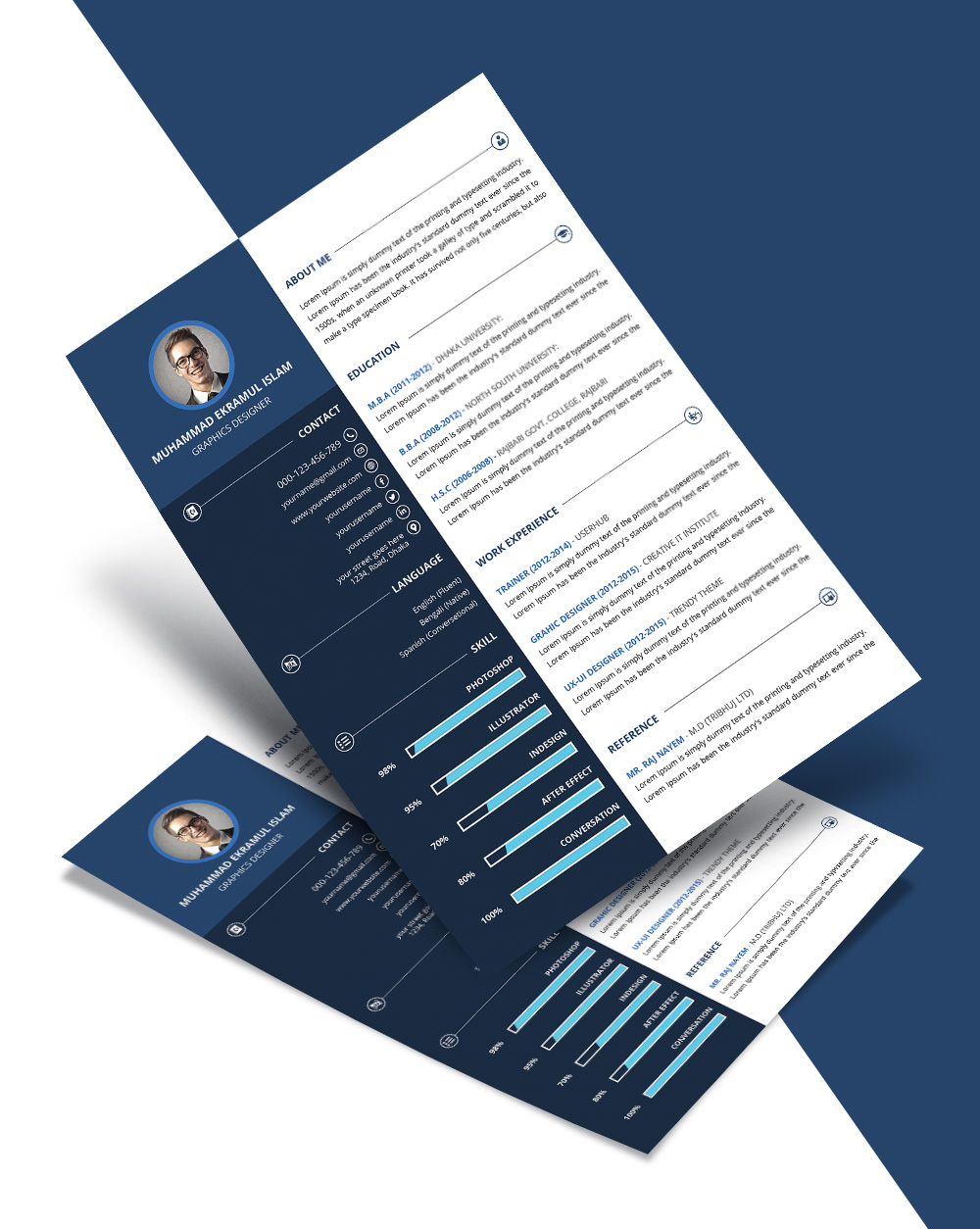 Free Beautiful Resume (CV) Design Template PSD File (1)