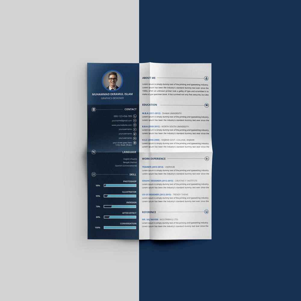 Free Beautiful Resume (CV) Design Template PSD File (2)