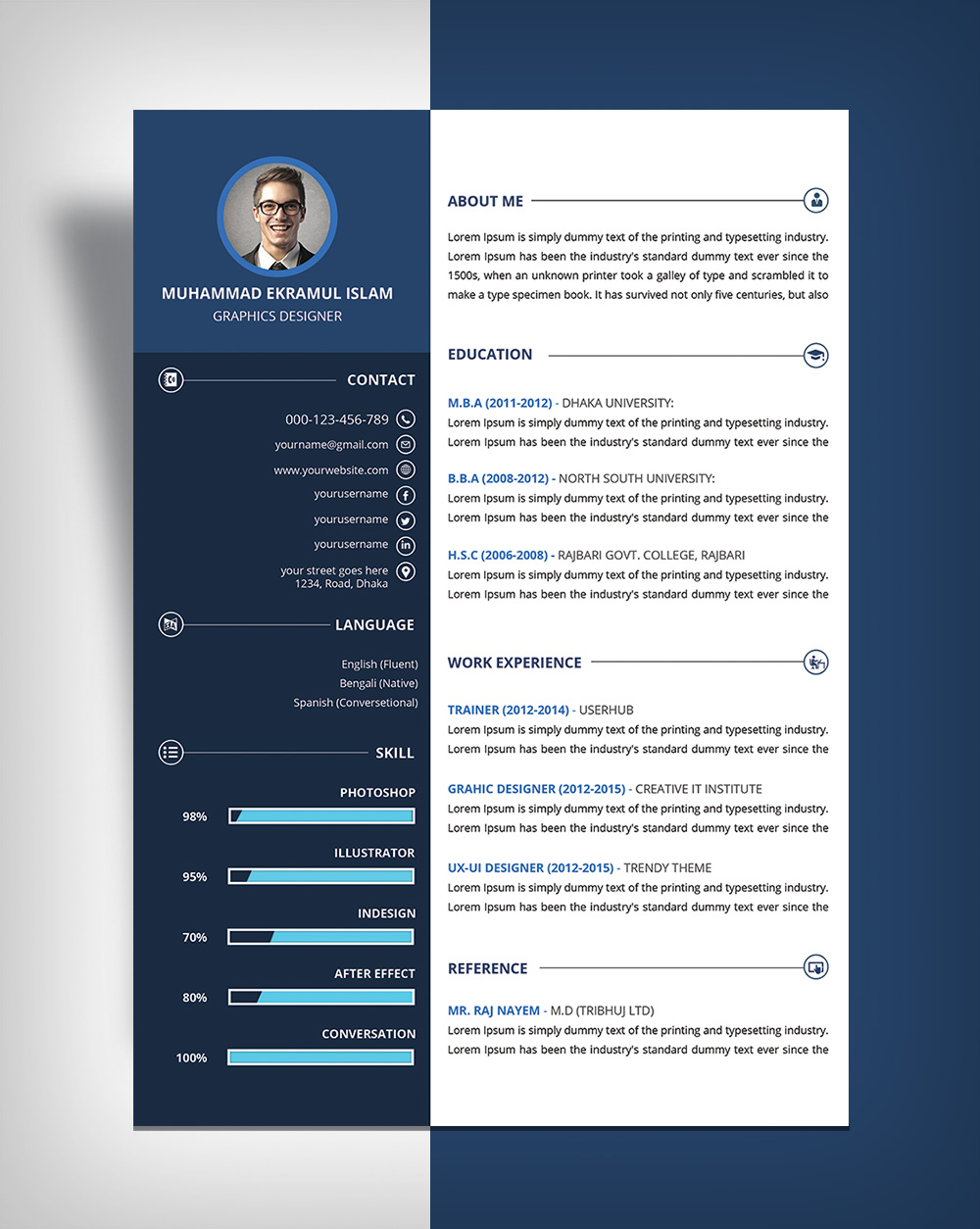 free beautiful resume  cv  design template psd file