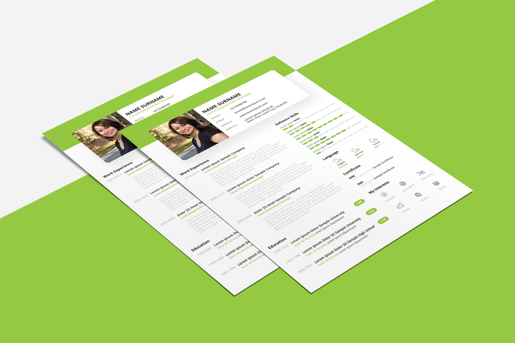 Free Beautiful Resume CV Design Template PSD PPT File
