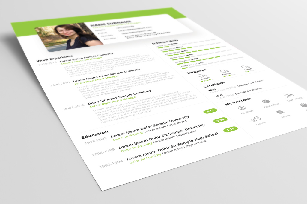 Free Beautiful Resume (CV) Design Template PSD & PPT File (3)