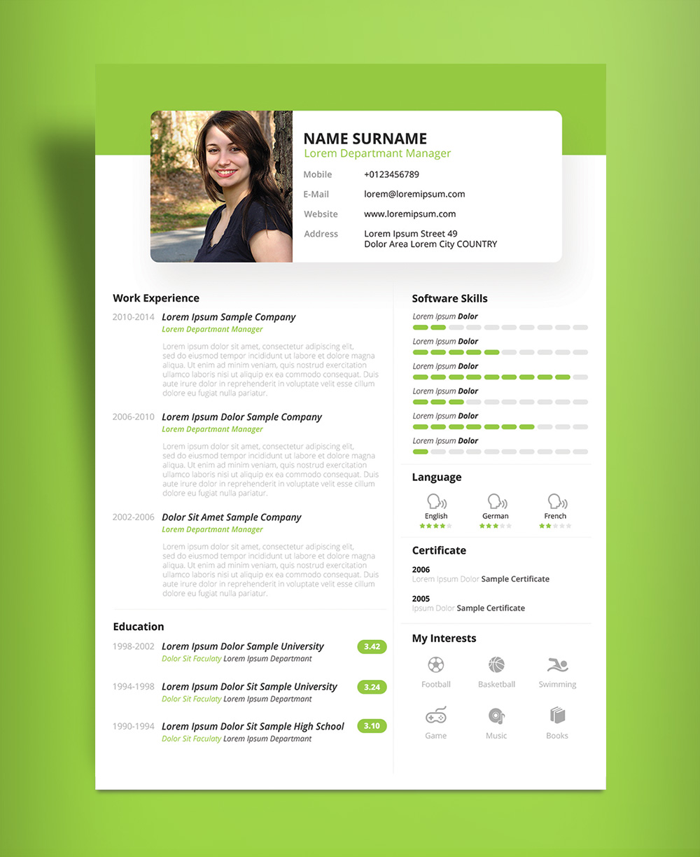 Free Beautiful Resume (CV) Design Template PSD & PPT File (4)