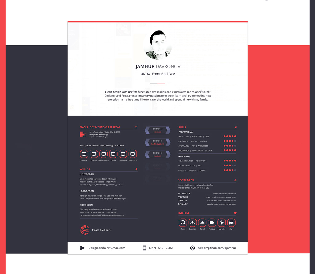 Free Beautiful Sketch Resume (CV) Design Template (2)