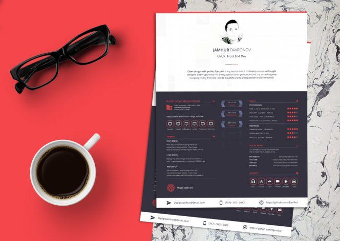 Free Beautiful Sketch Resume (CV) Design Template (3)