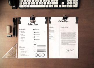 Free Black & White Minimalistic Resume (CV) Design With Cover Letter Ai File (1)