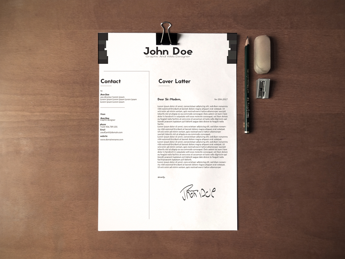 Free Black & White Minimalistic Resume (CV) Design With Cover Letter Ai File (2)