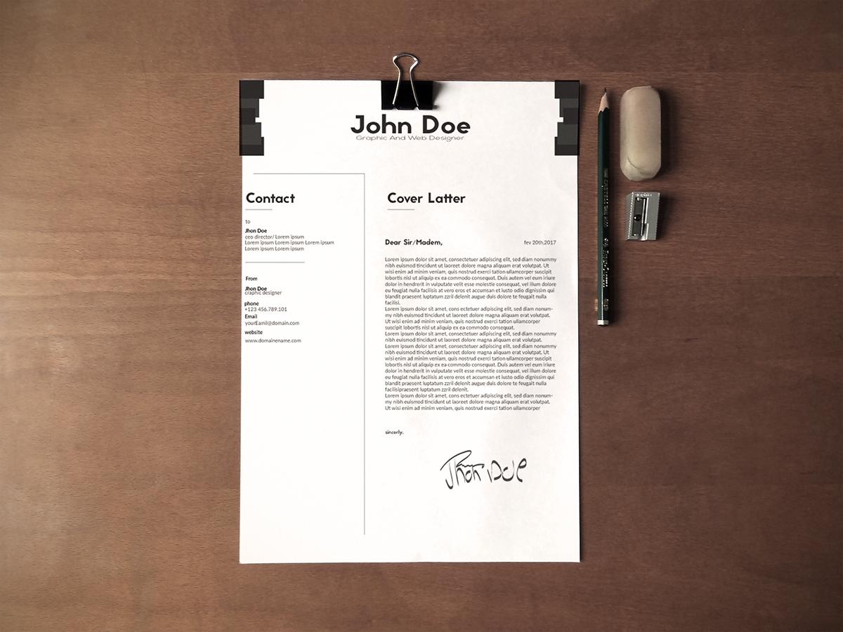 Free Black & White Minimalistic Resume (CV) Design With Cover Letter Ai File (2)