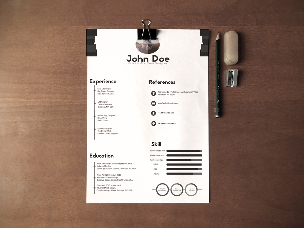 free black  u0026 white minimalistic resume  cv  design templates ai file