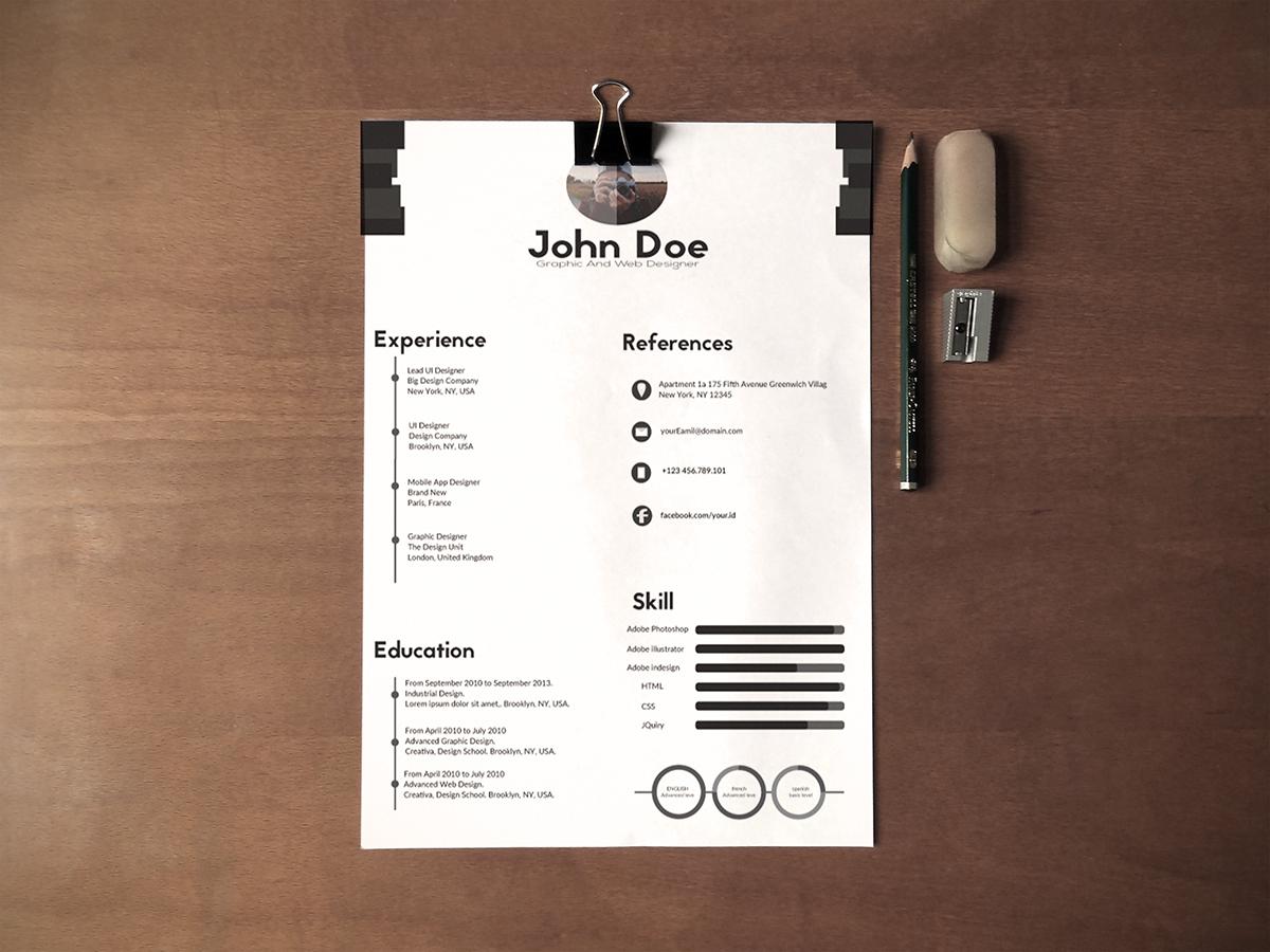 Free Black Amp White Minimalistic Resume Cv Design