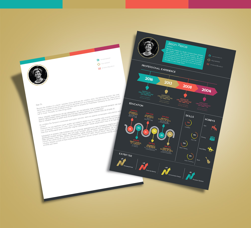 Free Creative Infographic Resume Template With Cover Letter